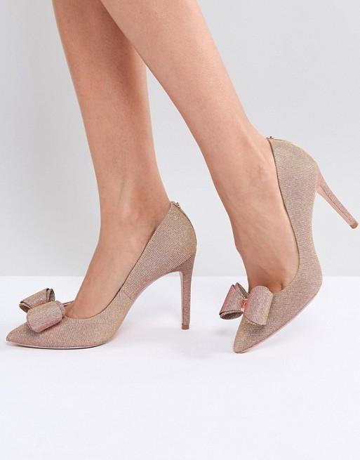 760d21a905296a Ted Baker Azeline Rose Gold Sparkling Heeled Court Shoes