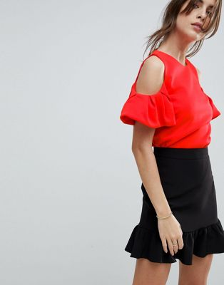 Ted Baker Betey Cold Shoulder Ruffle Top
