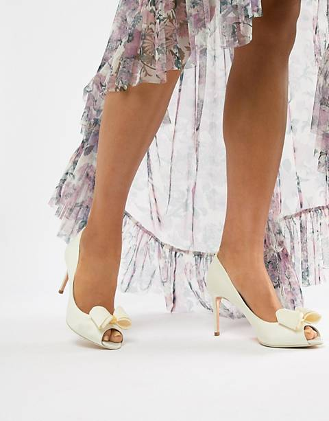 Ted Baker bridal heeled peep toe shoes