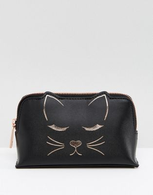 Ted Baker Cat Mini Make-Up Bag in Leather