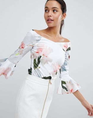 Ted Baker Chatsworth Bloom Bell Sleeve Top