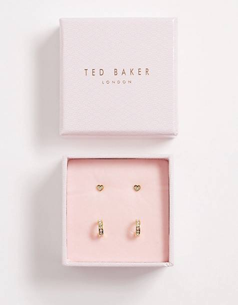Ted Baker Exclusive Nelsa gold Swarovski crystal heart stud earrings and huggy gift set