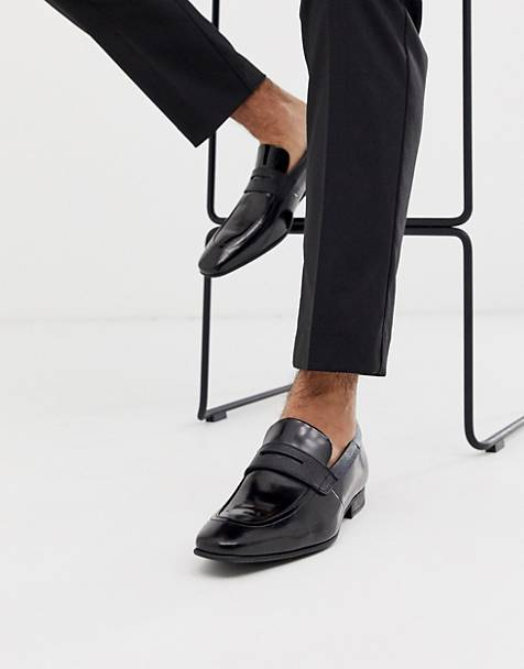 Ted Baker gaelhi loafers in black hi shine