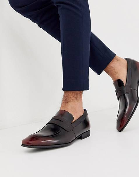 Ted Baker gaelhi loafers in burgundy hi shine