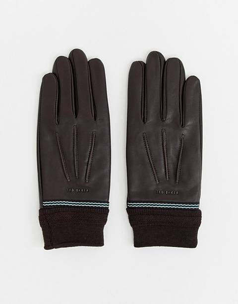 Ted Baker gloves in leather & ribbed cuff