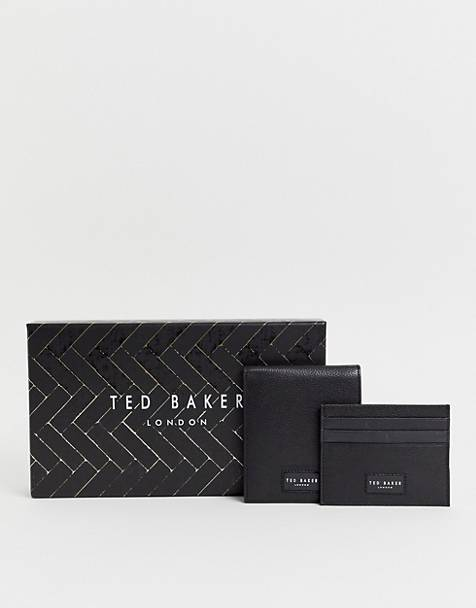 Ted Baker Grenada leather wallet and card holder gift set in black