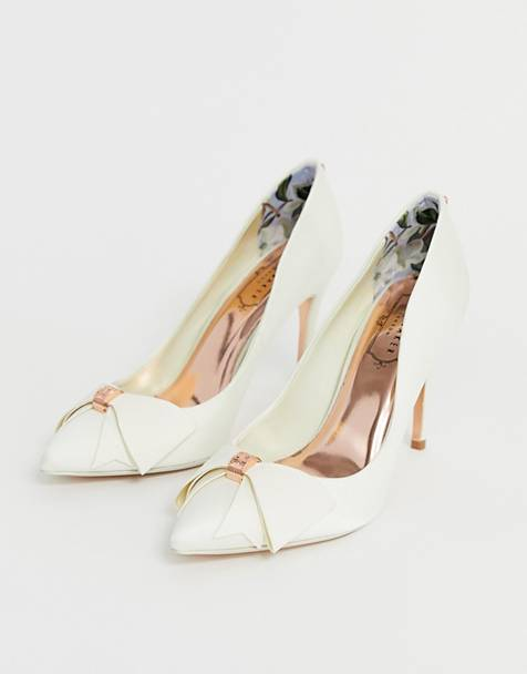 aa93fab5395db Ted Baker ivory satin bow detail heeled court shoe