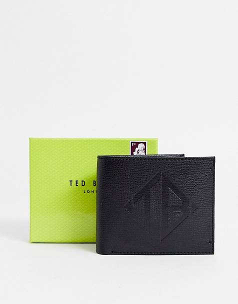 Ted Baker Meoe embossed logo leather bi-fold wallet in black