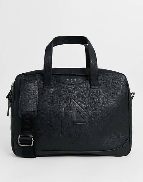 Ted Baker Peng embossed logo laptop bag in black