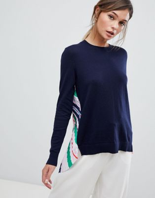 Ted Baker Pleat Back Jumper in Bay of Honour Stripe