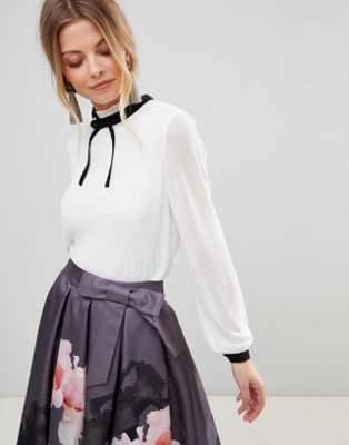 Ted Baker Pleated High Neck Bow Top