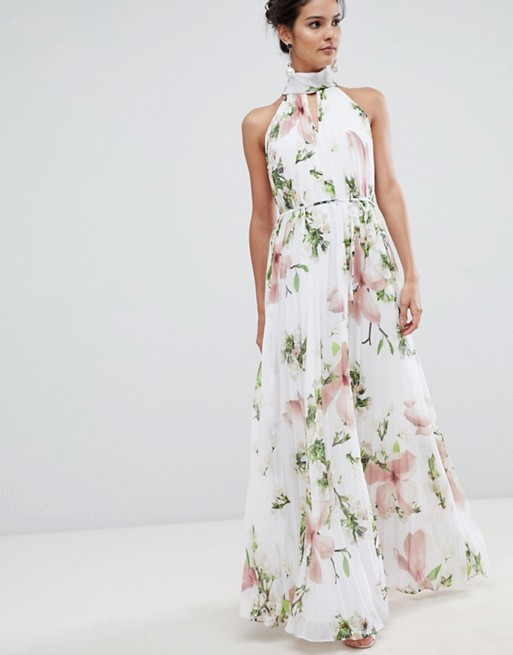 Image 1 of Ted Baker pleated maxi dress in harmony floral print