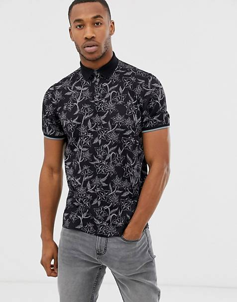 Ted Baker polo shirt in black floral print