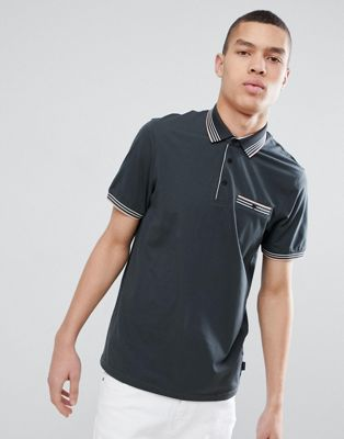 Ted Baker Polo Shirt In Grey With Stripe Tipping