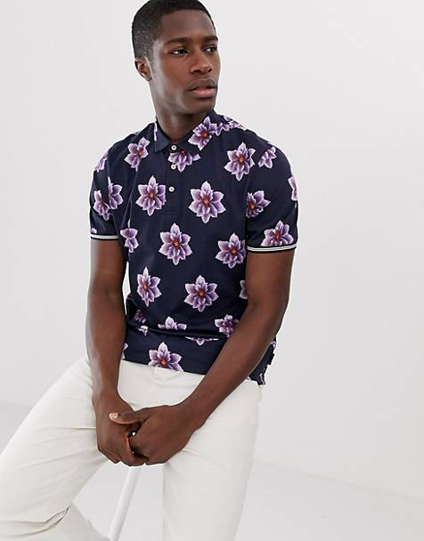 Ted Baker polo shirt with Hawaiian floral print