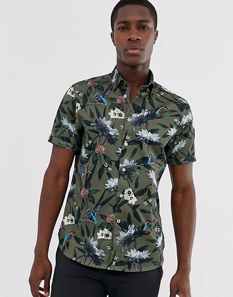 Ted Baker short sleeve shirt in khaki with kingfisher print