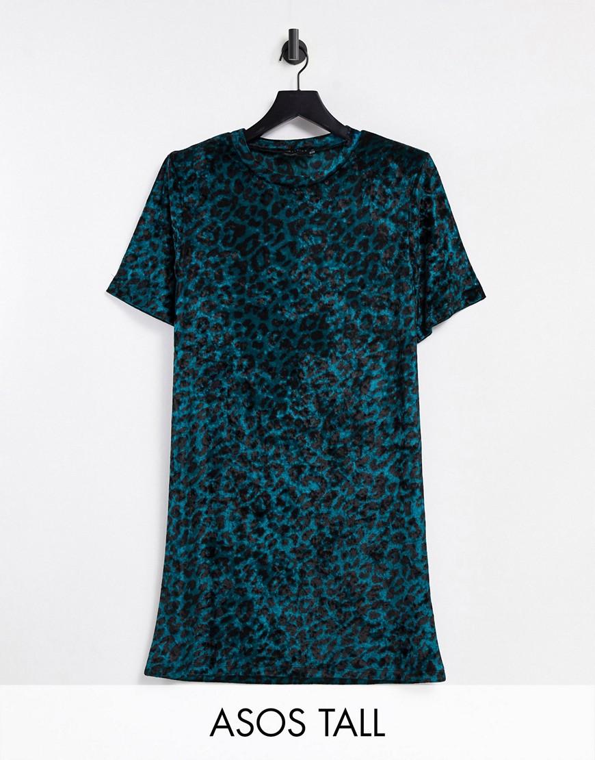 Темно-бирюзовое бархатное платье-футболка мини с подплечниками, короткими рукавами и леопардовым принтом ASOS DESIGN Tall-Зеленый