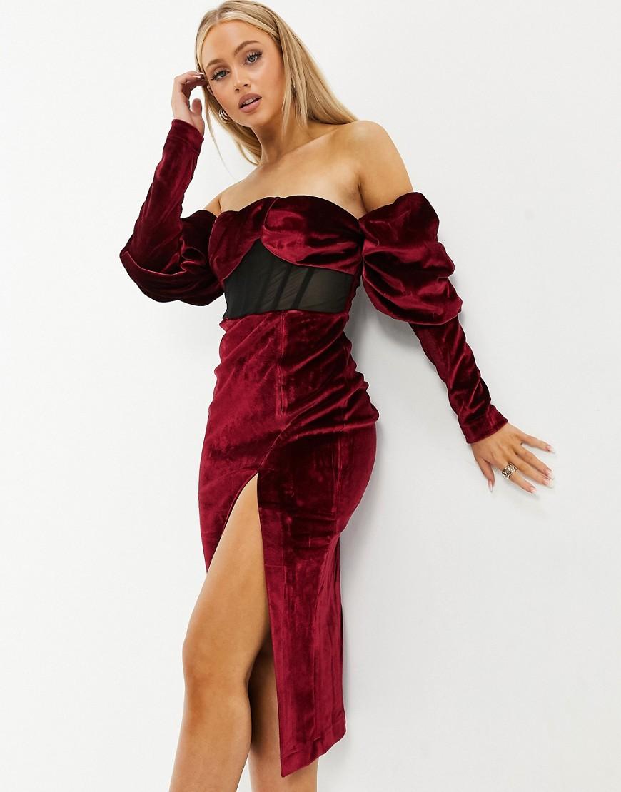 Темно-бордовое бархатное платье миди со сборками, пышными рукавами и сетчатыми вставками ASOS DESIGN-Красный
