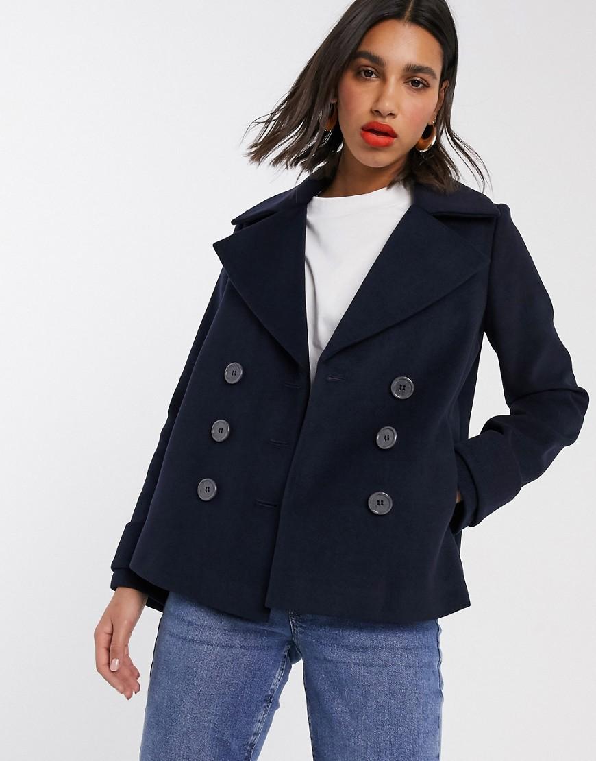Темно-синее двубортное пальто-бушлат Miss Selfridge-Темно-синий
