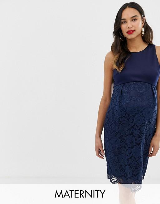 Темно-синее кружевное платье-футляр Chi Chi London Maternity