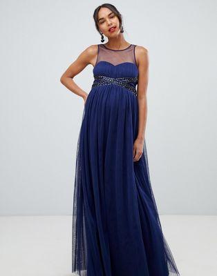 Темно-синее платье макси с отделкой на талии Little Mistress Maternity