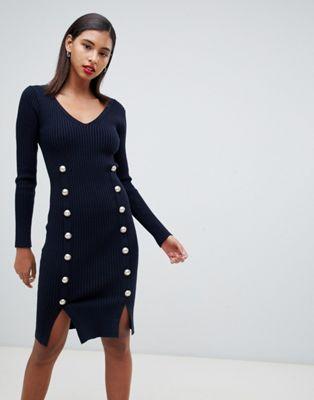 Темно-синее трикотажное обтягивающее платье с пуговицами Morgan