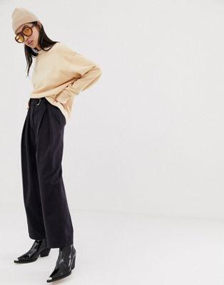 Изображение 1 из Темно-синие брюки с завышенной талией и присборенным поясом Weekday
