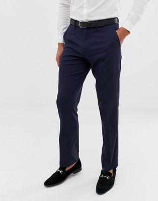 Темно-синие брюки слим ASOS