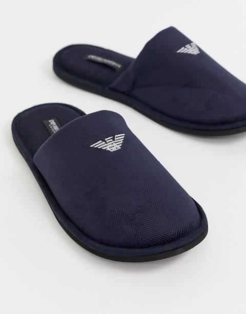 Темно-синие слиперы с логотипом Emporio Armani