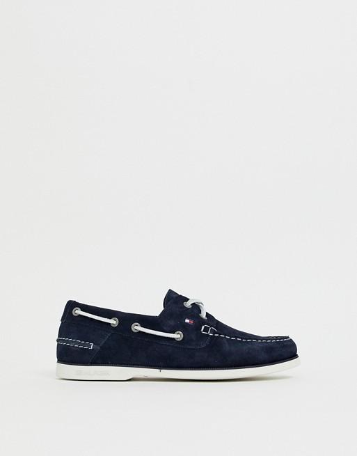 Изображение 1 из Темно-синие замшевые мокасины с контрастной шнуровкой Tommy Hilfiger