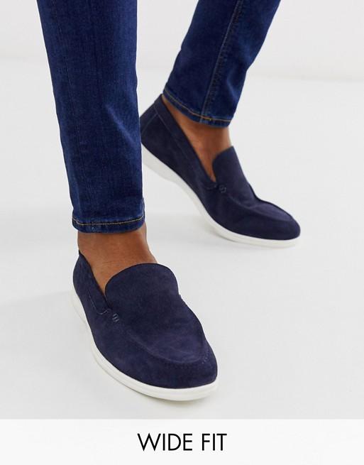 Темно-синие замшевые слипоны для широкой стопы на белой подошве KG by Kurt Geiger