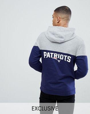 Темно-синий худи с шевронной вставкой и принтом на спине Majestic Patriots