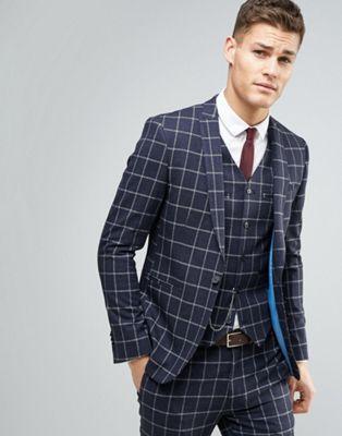 Темно-синий пиджак скинни в клетку ASOS Wedding