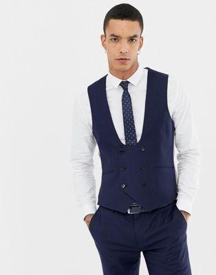 Темно-синий супероблегающий жилет из ткани с добавлением шерсти Twisted Tailor