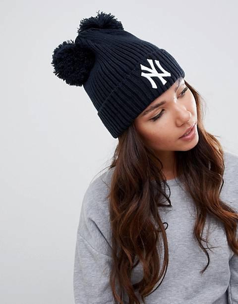 Темно-синяя шапка-бини с помпонами New Era