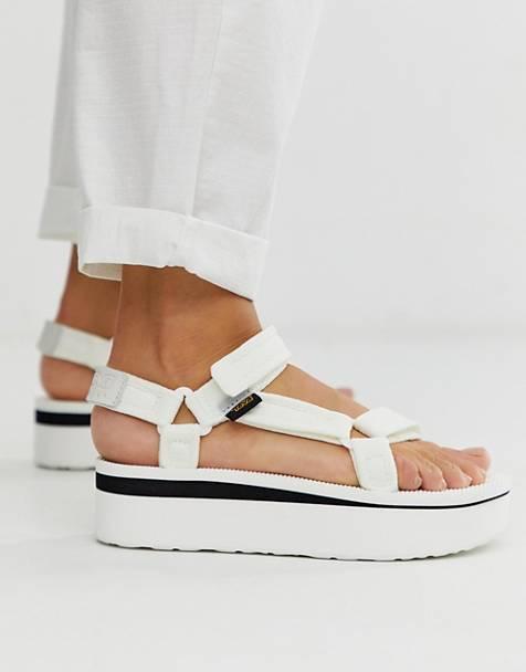 c9da2ac4d Teva Flatform Universal mesh print chunky sandals in white