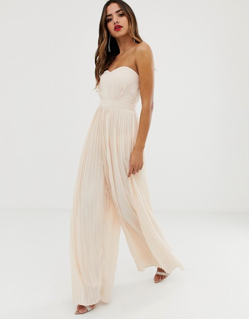 tfnc-bandeau-pleated-wide-leg-jumpsuit-in-blush by tfnc