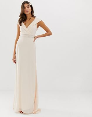 Image 1 of TFNC Bardot Maxi Bridesmaid Dress  With Fishtail and Embellished Waist
