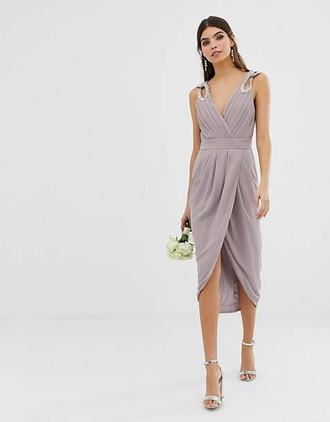 787ceea2572cf TFNC bridesmaid exclusive wrap midi dress with embellished shoulder in grey