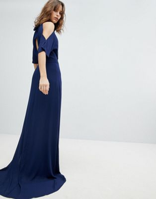 Image 1 of TFNC High Neck Maxi Bridesmaid Dress With Fishtail
