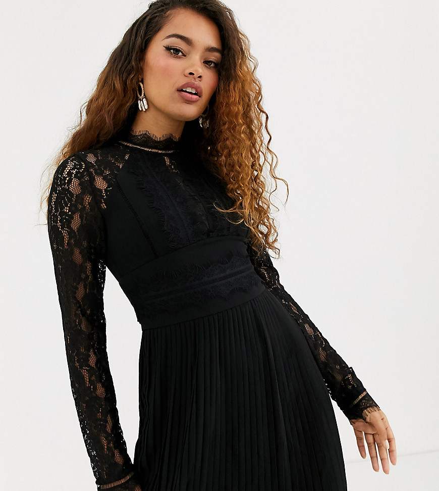 TFNC Petite Bridesmaid high neck long sleeve pleated mini dress with lace inserts in black - TFNC Petite online sale