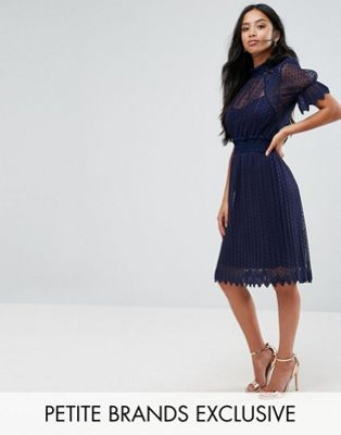 TFNC Petite High Neck Pleated Lace Midi Dress With Smoked Waist