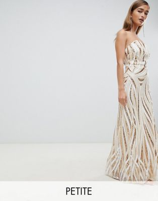 TFNC Petite patterned sequin bandeau maxi dress in gold