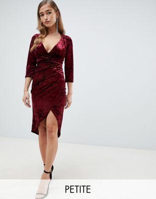 TFNC Petite velvet midi wrap dress in burgundy