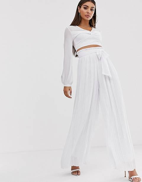 TFNC pleated wide leg pants two-piece with tie waist in white