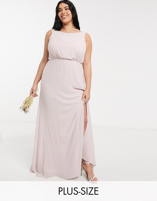 TFNC Plus bridesmaid cowl back maxi dress in pink