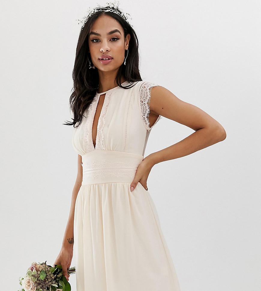 TFNC - Robe de demoiselle d'honneur courte avec détails en dentelle - Rose perle