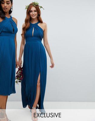 TFNC - Robe de demoiselle d'honneur longue et plissée - Bleu pétrole