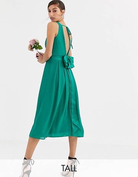 TFNC Tall Bridesmaid midi dress with satin bow back in emerald green