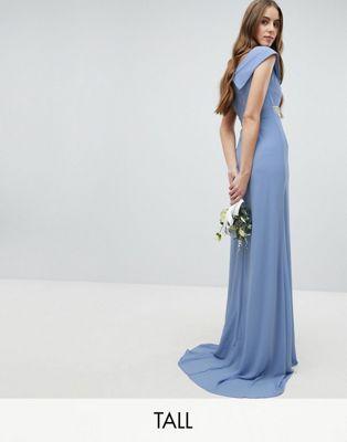 TFNC Tall - Vestito da damigella lungo a sirena con scollo alla Bardot e vita decorata